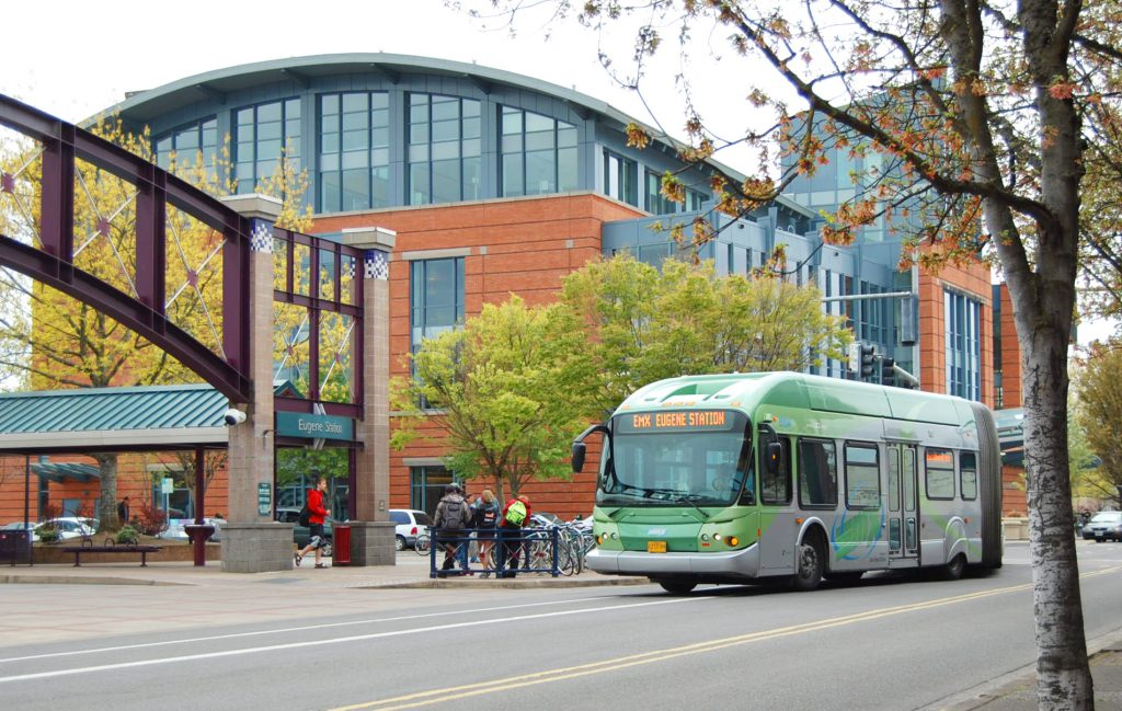 EmX bus at downtown Eugene station
