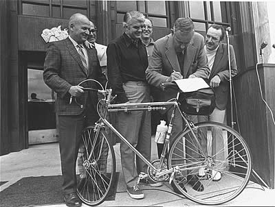 Gov. Tom McCall signs the original Bike Bill